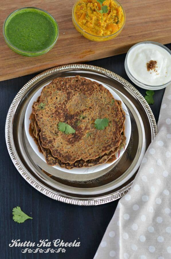 Kuttu ka cheela or falahari cheela is a traditional Indian fasting recipe which is not only quick and easy to make but also a vegan and gluten-free cheela recipe. Kuttu, also known as buckwheat flour, is commonly used by the majority of people in India during fasting days, especially in Navratri.