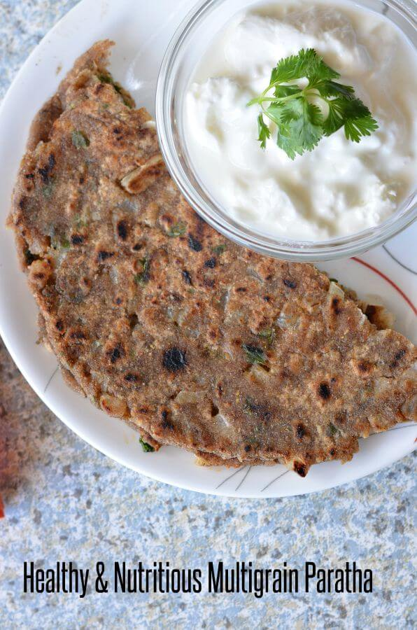 Multigrain paratha as the name says includes the different grains flour in equal quantity and then make roti or paratha.Multigrain paratha is low calories nutritious Indian flatbread with loads of nutrients depending on which flour combination you have.