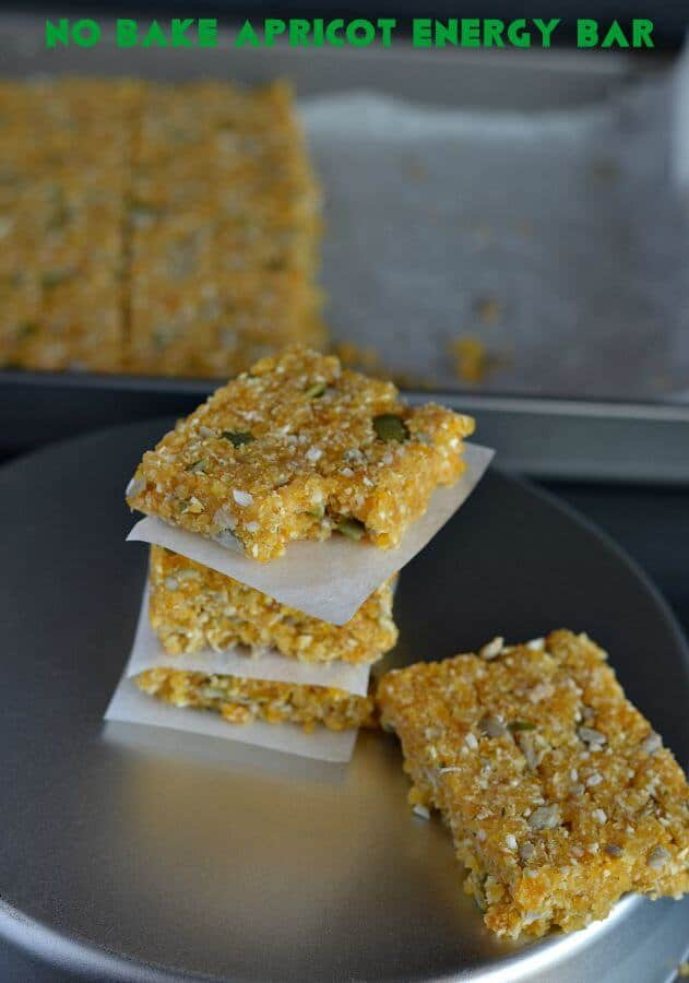 No bake apricot energy bar are prepared with apricots, almonds, oats, sunflower seeds, pumpkin seeds, and coconut. These are sugar-free, vegan, gluten-free, and dairy free. Being sugar-free these no bake apricot energy bars makes a perfect pre or post workout meal.