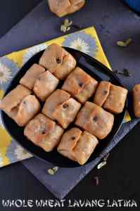 Whole wheat Lavang Latika is a rich, aromatic Bengali sweet made during Durga Pooja, also known as Labongo Latika. This rich, beautifully pocket shaped dessert is made with whole wheat crust filled with the mixture of khoya/mawa and dry fruits. Whole wheat Lavang Latika is crunchy from outside and soft from inside with the delicious rich mawa filling.