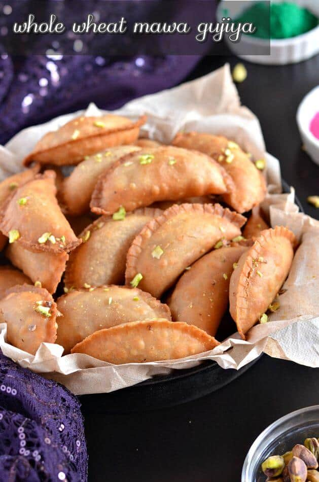 Whole wheat mawa gujiya or mawa karanji is a traditional Indian sweet prepared during Holi or Diwali, especially in North India.
