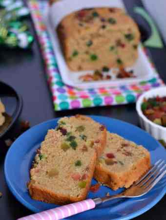 Whole wheat Tutti Frutti cake is eggless, easy to make, soft, moist and a perfect tea time cake. This is a no fail eggless tutti frutti cake recipe to make at home.