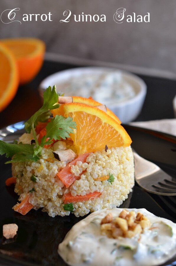 Carrot quinoa salad with yogurt tahini dressing is a healthy, nutrient-rich and delicious fresh salad. If you look for a healthy, balanced and full of nutrients vegetarian meal then this carrot quinoa salad with yogurt tahini dressing is perfect to indulge.  This quinoa bowl salad is gluten-free. You can use vegan curd to make it a vegan quinoa salad.