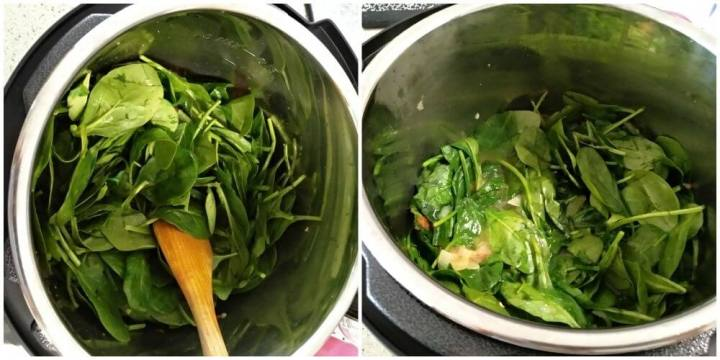 added spinach. pressed it down with the help of spatula in order to adjust in the pot