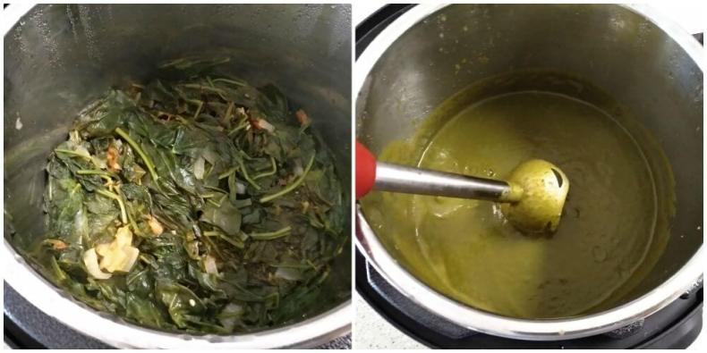 spinach is cooked. made puree with the help of immersion blender