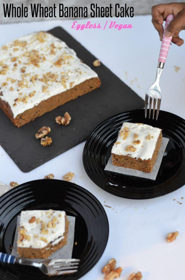 This vegan banana walnut cake is soft, moist and with coconut cream frosting on top. Made with whole wheat flour, spiced with cinnamon and chewy roasted walnut inside, this vegan eggless whole wheat banana cake is loved by all. Must say this is the best recipe to make an eggless banana walnut cake with whole wheat.