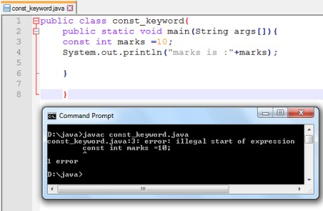 The const keyword in Java programming language - Codeforcoding