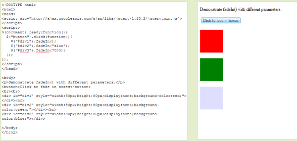 JQuery FadeIn FadeOut Toggle and FadeTo Functions ...