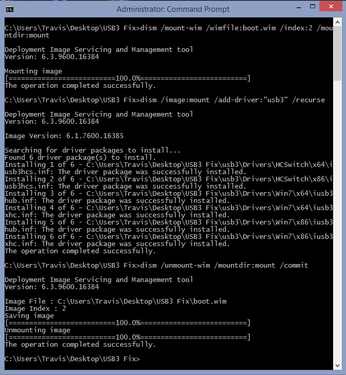 screenshot of the command prompt after running each command