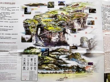 Mapa góry Tianmen - północ na dole
