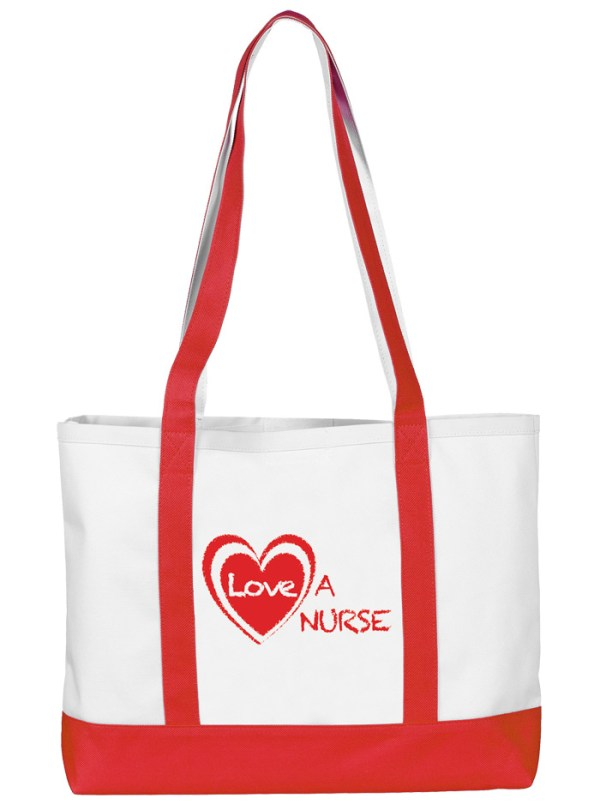 Red Accent with Heart Love a Nurse Tote Bag