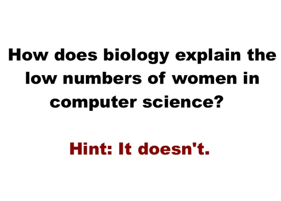 How does biology explain low numbers of women in computer science