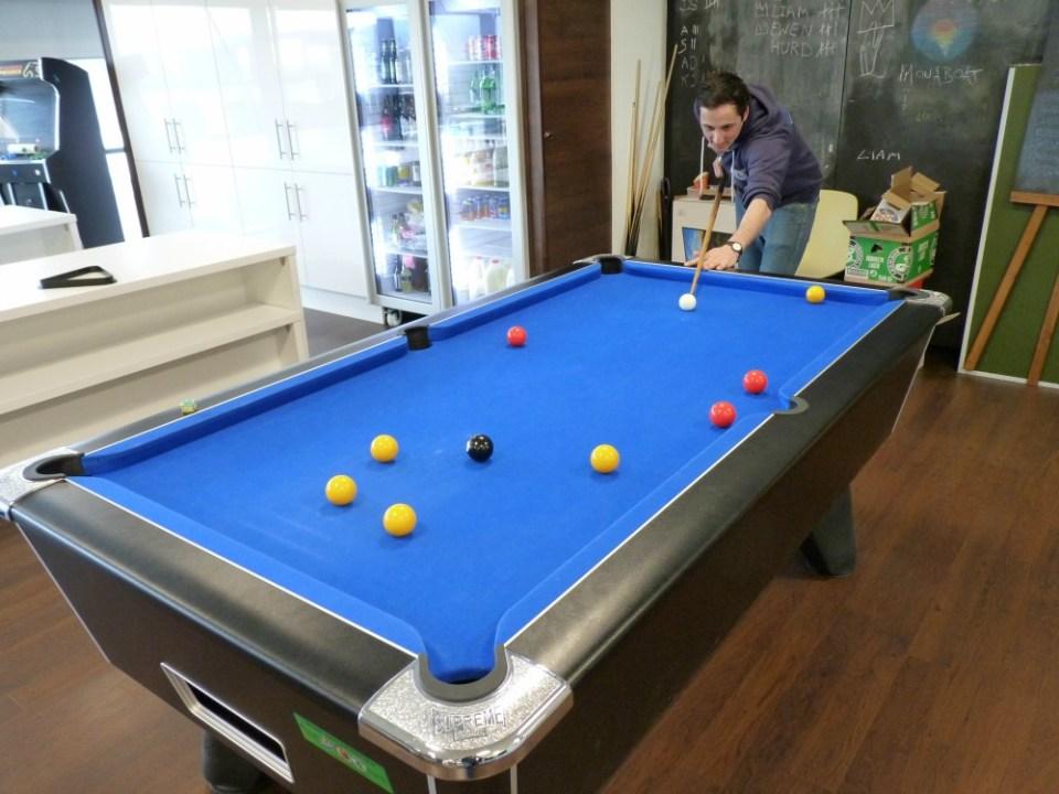Peter playing pool