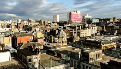 Rooftop panorama of Glasgow city centre