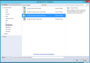 3. Visual Studio - Add New Basic Client Control