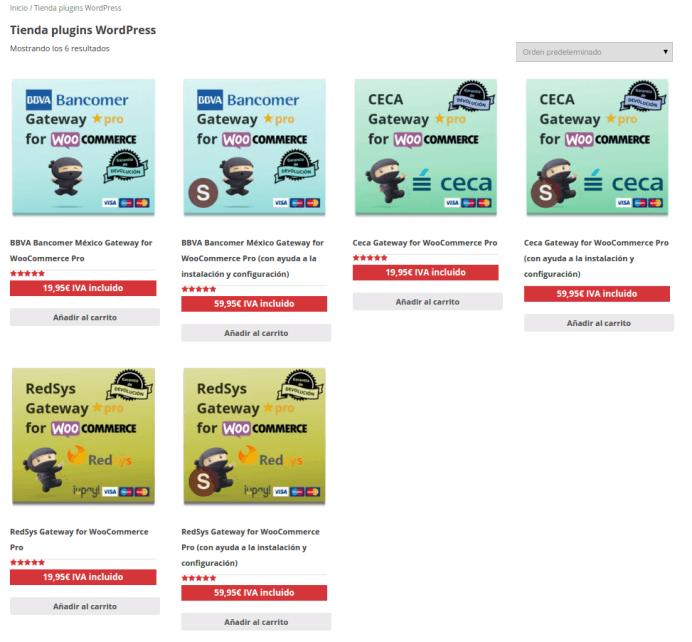 Tienda plugins de pasarela de pago WooCommerce Codection