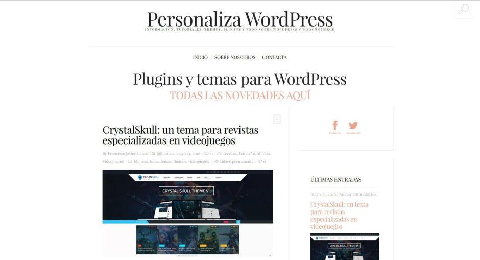 Personaliza WordPress