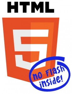 "HTML5 Logo with words ""no flash inside"" stamped across it"