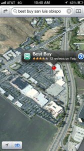 Best Buy SLO location in Apple maps in iOS 6 on an iPhone 5