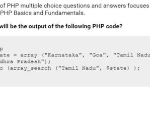 PHP Top Ten Arrays MCQ Questions & Answers – 1