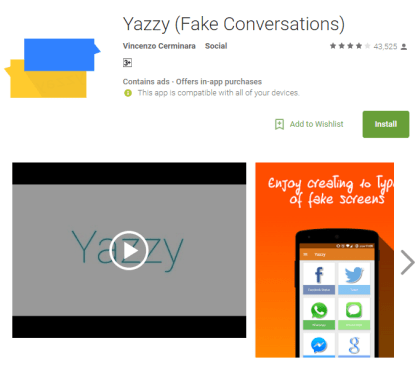 Yazzy fake conversation
