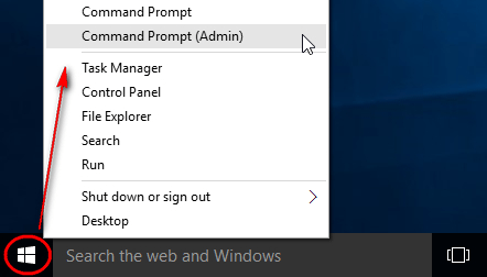 Right-click on the start button and open Command Prompt