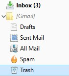 E-mail trash bin has not been emptied