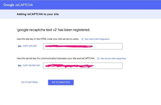 Google recaptcha v2 credentials