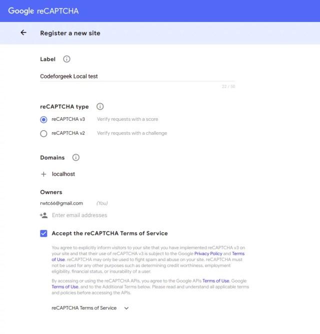 google recaptcha v3 create app