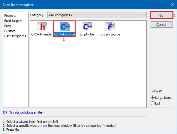 Create new C file in CodeBlocks - 2