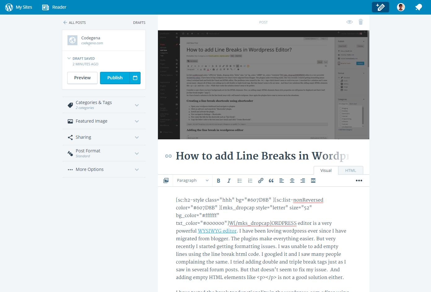 the new wordpress.com editor