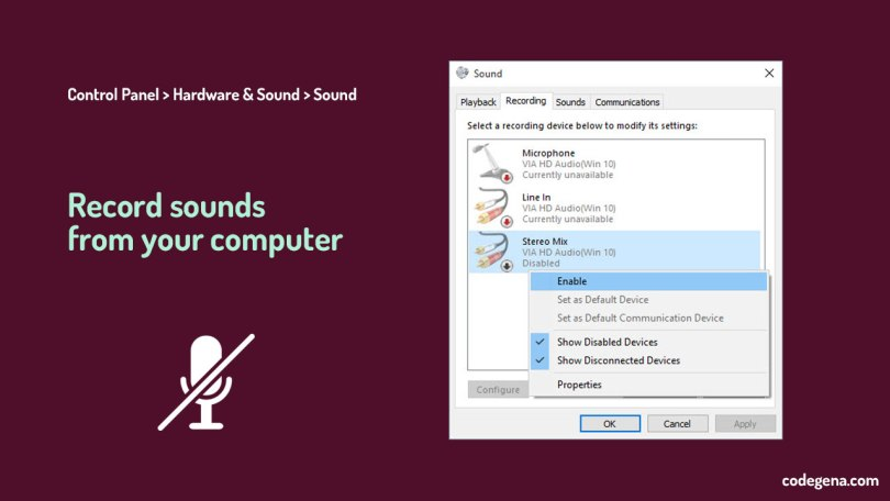 To record audio from computer without mic, right click and enable stereo mix from the sound dialog box.
