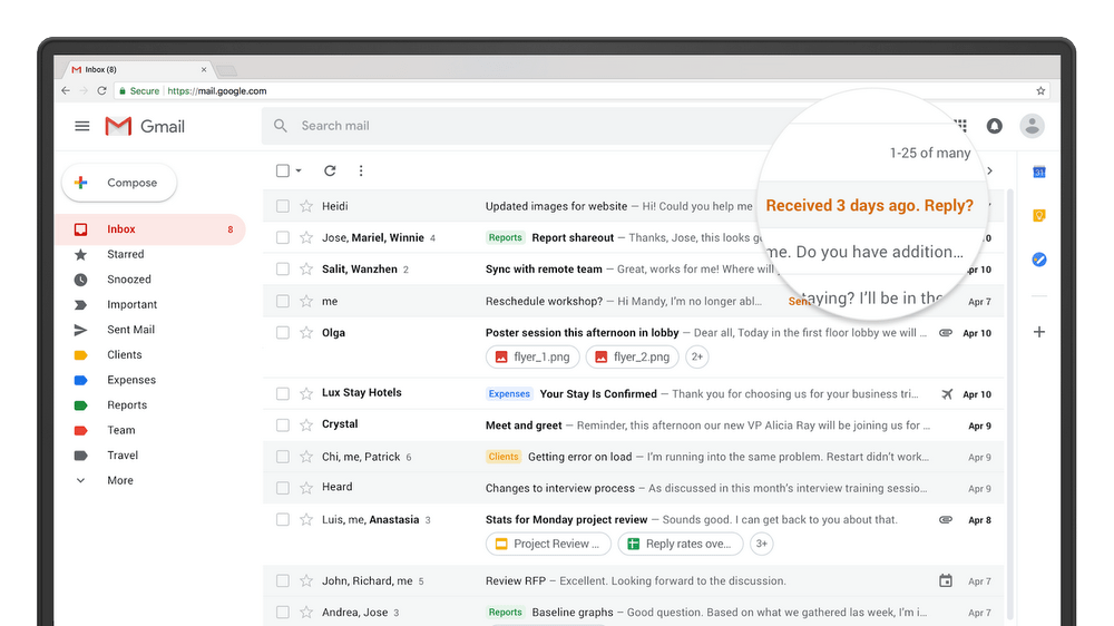 The Gmail nudging feature will remind you to respond or reply to emails that you haven't followed up