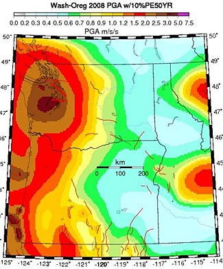 Earthquake danger zones in WA, OR, ID, MT.