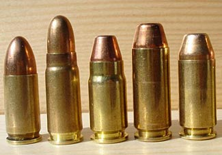The powerful but uncommon .357 SIG in the middle, others are 9mm, 7.62 Tokarev, 10mm and .40 S&W.