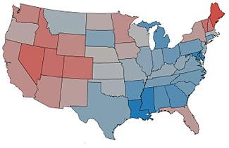 The redder the state, the happier its people.  The bluer the state, the less happy.