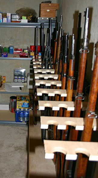 This fortunate retreat owner has a walk in safe full of rifles, supplies, and much more.