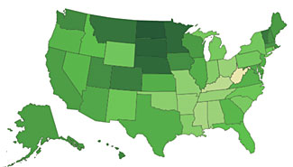 The darker colored the state, the greater the feeling of overall wellbeing in the state.  Just one of almost 30 different factors measured in Gallup's latest 'State of the State' survey.