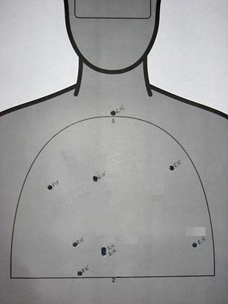This spread of shot shows the shotgun to be at the outer limit of its B zone range.