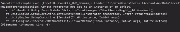 So if you get a NullReferenceException at this stage, that's because I sheepishly forgot to add a DictationInputManager.cs which the InputManager is screaming at me for.
