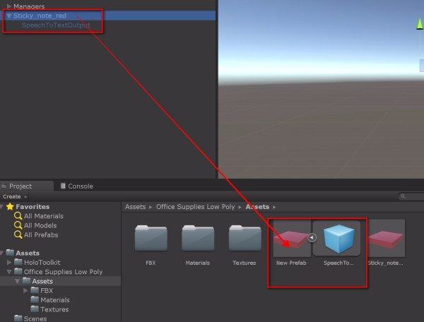 Next in your Assets folder (you can have it also in a folder inside the Assets folder), right click and Create Prefab. Drag and drop the Sticky_note_red (along with it's child) to the Prefab object you just created. If it is done rightly, you will see the Sticky_note_red object