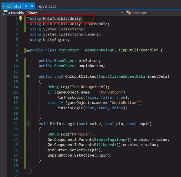 You'll see two more errors of SimpleTagAlong and BillBoard. They are missing a using directive, using HoloToolkit.Unity; Add this in the code. The final code is shown below.