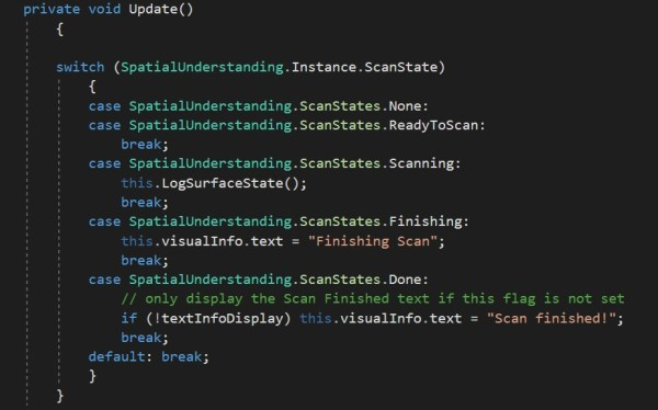 Attached also is a snippet of the Update() function with the flag check