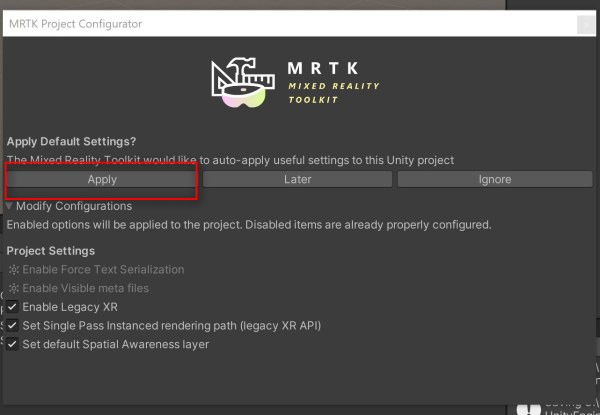 3. Once the import finishes, you'll see a Apply default settings popup. Click on Apply. This makes sure the MRTK default settings is applied to your project.