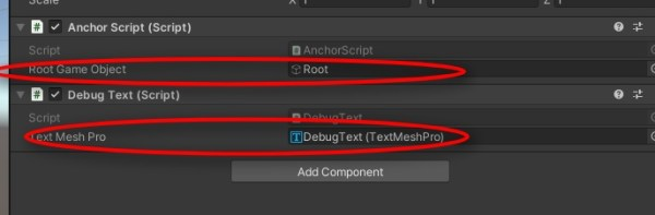 Don't forget to add the rootgameobject in the Inspector to AnchorScript. Add the DebugText script to the Manager. Then drag and drop a TextMeshPro text onto it to show you the output at runtime.