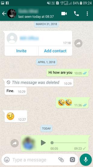 voice message sent