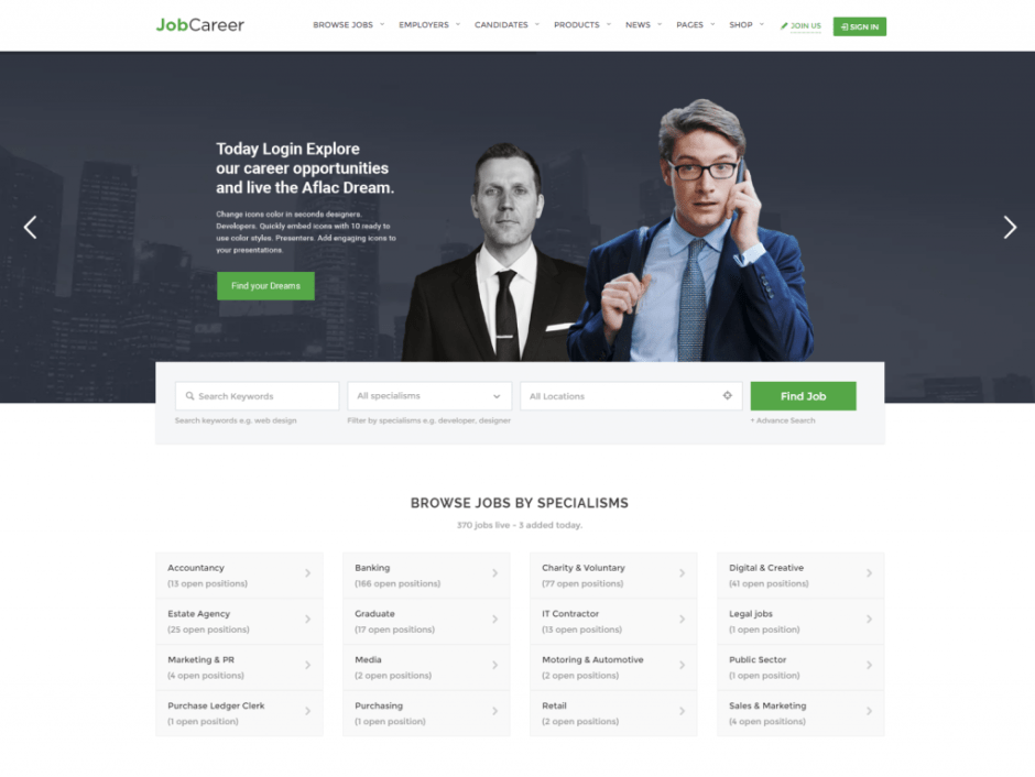 jobcareer job board responsive wordpress theme