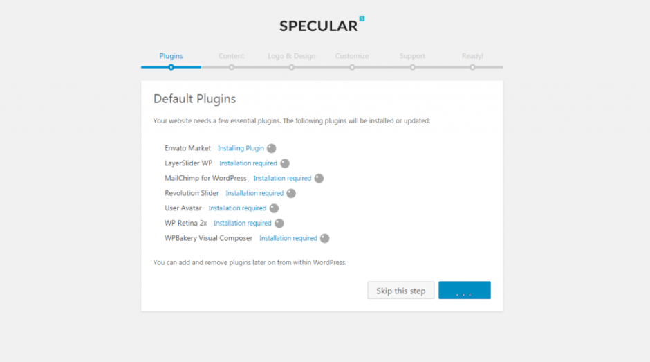 localhost Specular_ wp admin themes.php page specular setup step default_plugins
