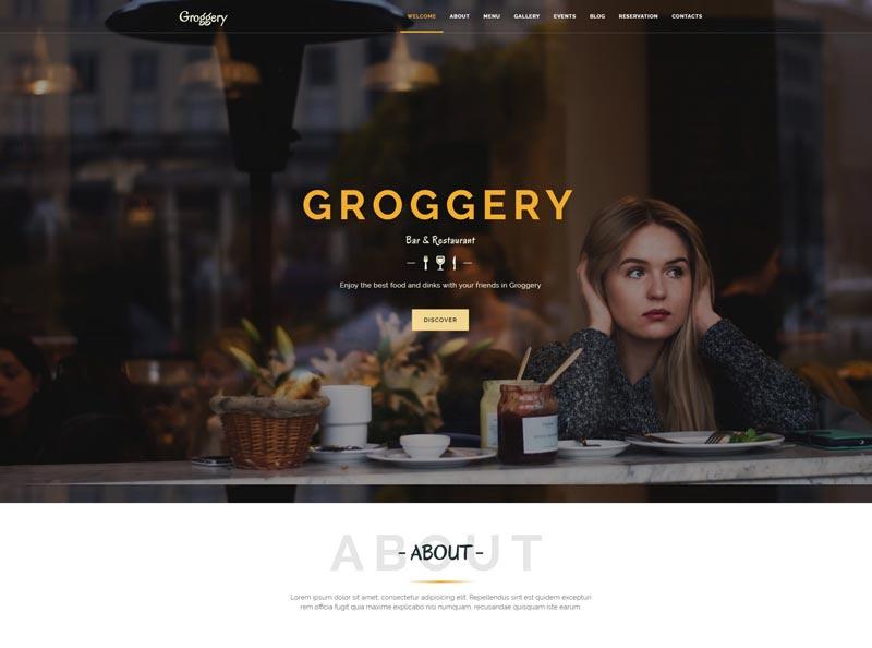 Groggery Responsive Bar Restaurant And Cafe WordPress Theme