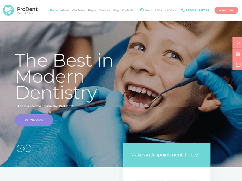 Prodent wordpress dentist themes